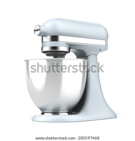 Blue stand mixer  isolated on a white background.