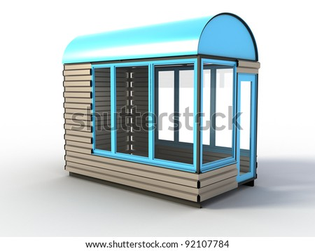 Blue stand on a white background - stock photo