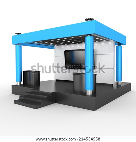 blue stand or booth in a trade show. 3d render