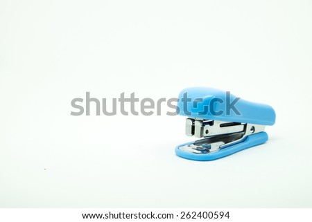 Blue stapler on white background - stock photo