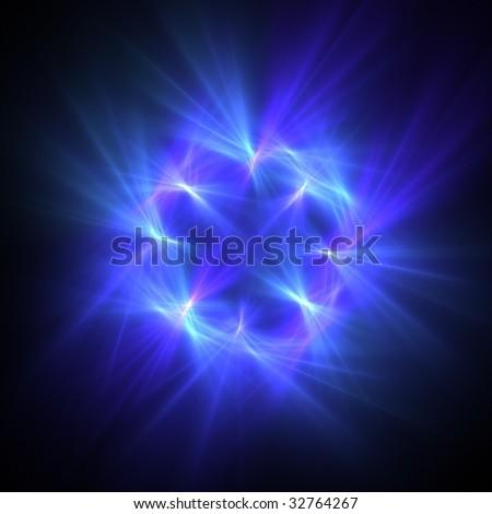 blue star fractal over black - stock photo