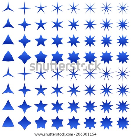 Blue star shape collection - jpg version