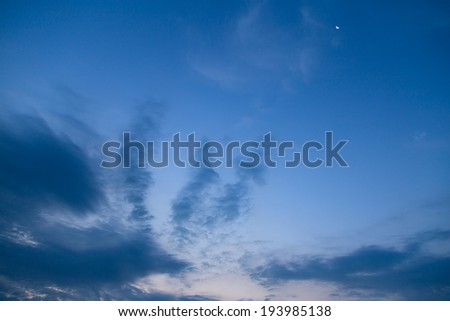 blue star sky clouds sunset  - stock photo
