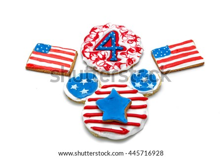 blue stars, American flag and the figure of four cookies