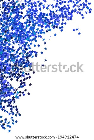 Blue stars in the form of confetti on white background - stock photo