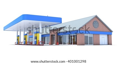 Blue station isolated on white background. 3D render. Isolated