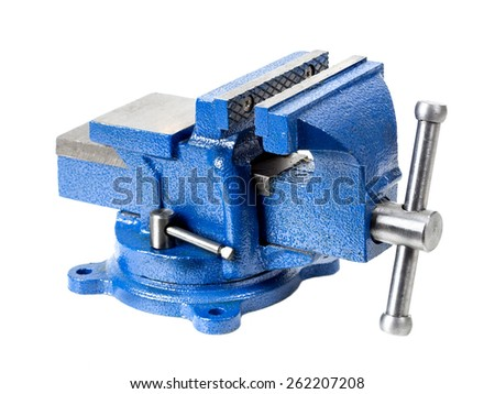 Blue steel vise on white background - stock photo