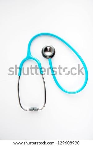 Blue Stethoscope on White Background - stock photo