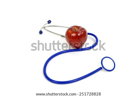 Blue Stethoscope With Bright Healthy Red Apple Concept - stock photo