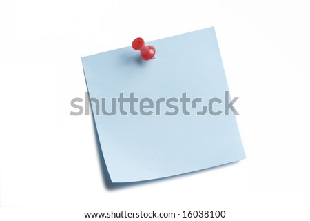 Blue sticky note isolated on white - stock photo