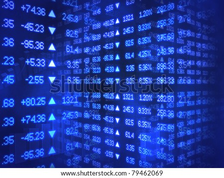 Blue Stock Ticker Zig Zag - stock photo