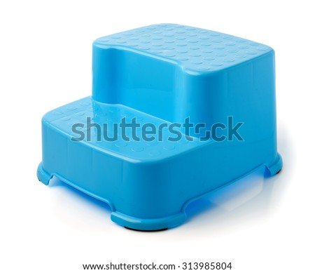 Blue Stool Stand for kids on white background - stock photo