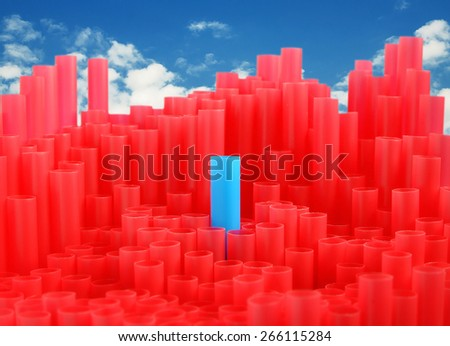 Blue straw in the middle of red straw,One match standing out from the crowd, leadership, difference concept ,chart , graph  - stock photo
