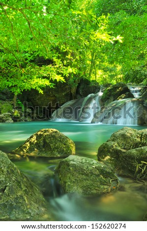 Blue stream waterfall in Kanjanaburi Thailand (Erawan waterfall Nation Park)