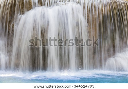 Blue stream waterfalls close up background