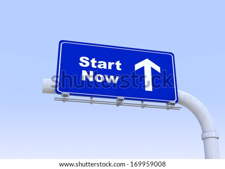 Blue street sign with start now word written on it with blue sky on the background - stock photo