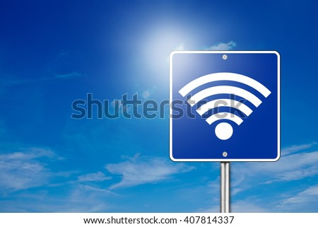 Blue street sign with wifi icon on blue background