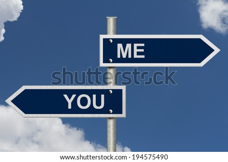 Blue street signs with blue sky with words You and Me, You and Me in opposite directions