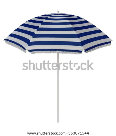 Blue striped beach umbrella isolated on white. Clipping path included. - stock photo