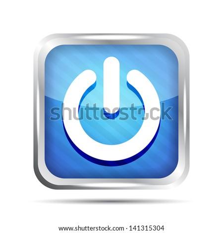 blue striped power button icon on a white background - stock photo