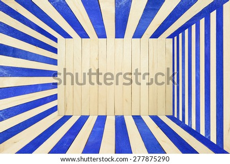 Blue stripes wood wall and floor abstract background
