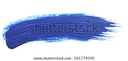 blue stroke of the paint brush isolated on white - stock photo