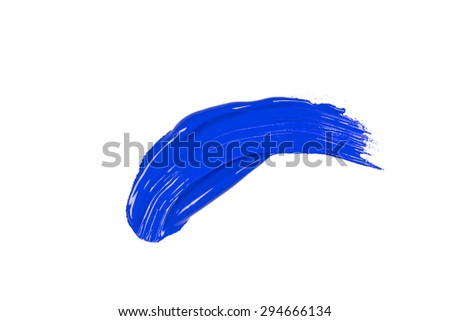 blue stroke of the paint brush on white paper - stock photo