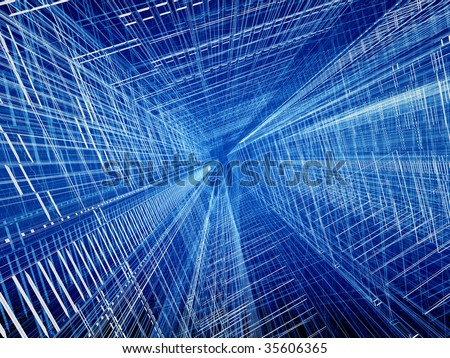 Blue structural wired abstract spatial three dimensional background