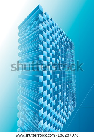 Blue structure abstract background, raster.