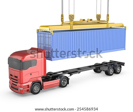 Blue stylized wireframe mesh forklift truck, isolated on white background - stock photo