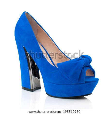 Blue suede  high heel women shoe isolated on white background.Please, look for more photos like this in my sets. - stock photo