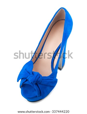 Blue suede shoe isolated on white background.Top view. - stock photo