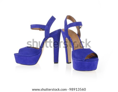 blue suede shoes isolated on white - stock photo
