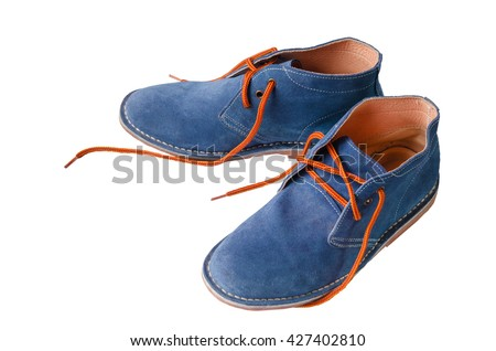 Blue suede shoes leather A shoestring orange A suede classic style luxury Casual suede shoes on white background - stock photo
