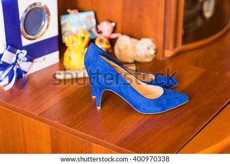 Blue suede women shoes - stock photo