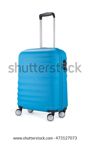 blue suitcase for travel isolated on white background.
