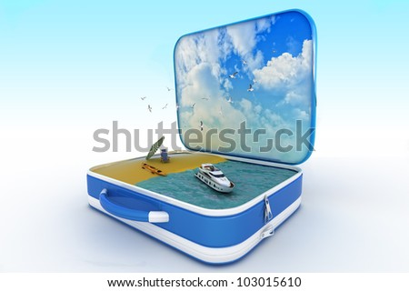 blue suitcase with vacancy symbol inside - stock photo