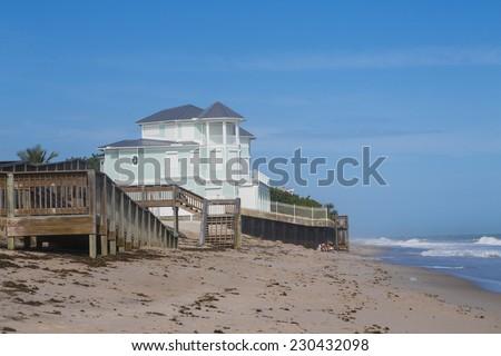 blue summer beach house on the beach, Florida - stock photo