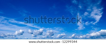 Blue summer day sky with white clouds - stock photo