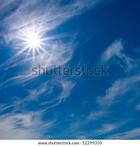 Blue summer day sky with wite clouds - stock photo