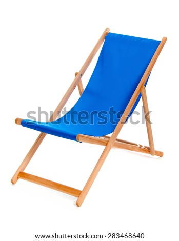 Blue summer deckchair isolated on a white background. - stock photo
