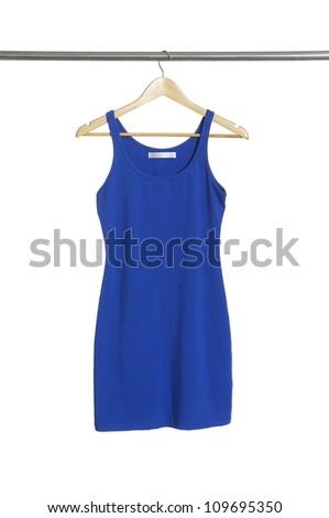 Blue summer dress on hanger isolated - stock photo