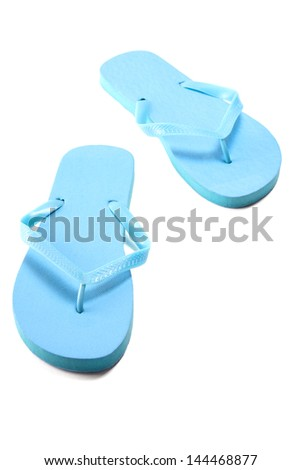 blue summer flip flops isolated on white background