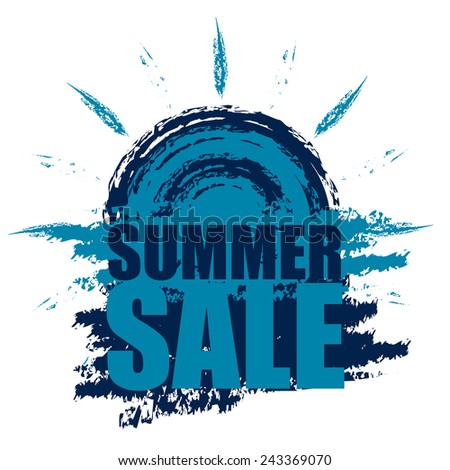 Blue Summer Sale Banner, Sticker, Icon or Label Isolated on White Background  - stock photo