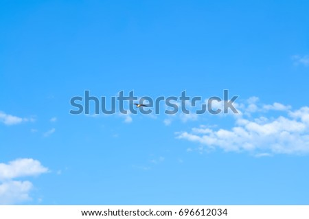Blue summer sky on a fine day and white cumulus clouds with flying bird (out of focus)
