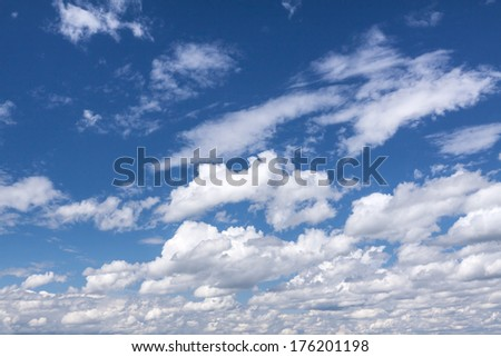 Blue summer sky with white clouds - stock photo