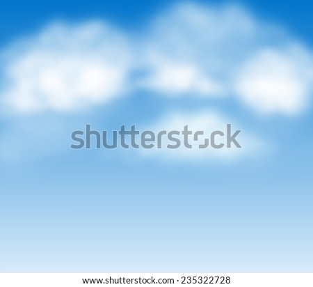Blue summer sky with white fluffy clouds