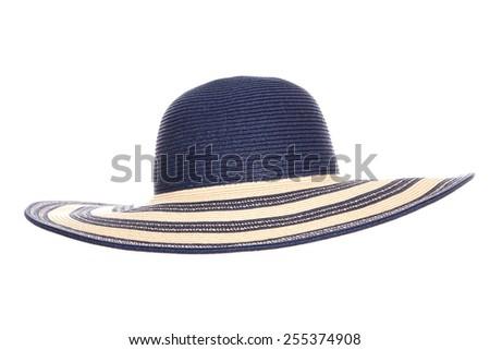 blue summer sun hat cutout - stock photo