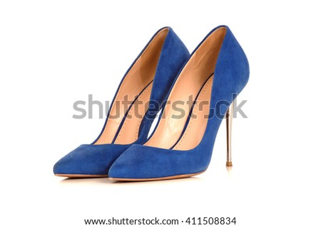 Blue summer woman Shoe isolated in white background - stock photo