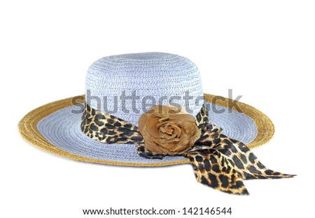 Blue sunhat with ribbon isolated on white background